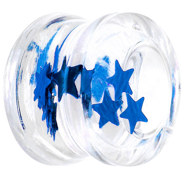 "9/16"" Acrylic Blue Floating Stars Saddle Plug"