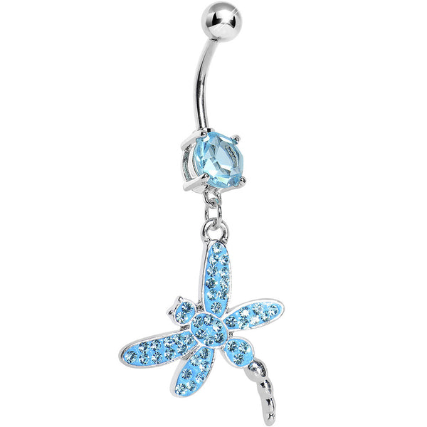 Aqua Gem Paved Dragonfly Dangle Belly Ring