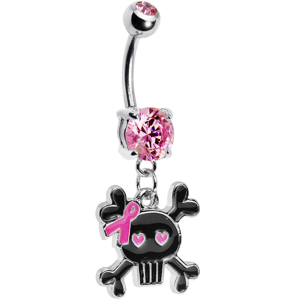 Pink Gem Lady Skull Awareness Ribbon Belly Ring