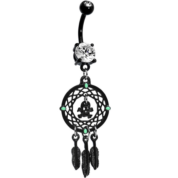 Crystalline Gem Black Skull Dreamcatcher Belly Ring