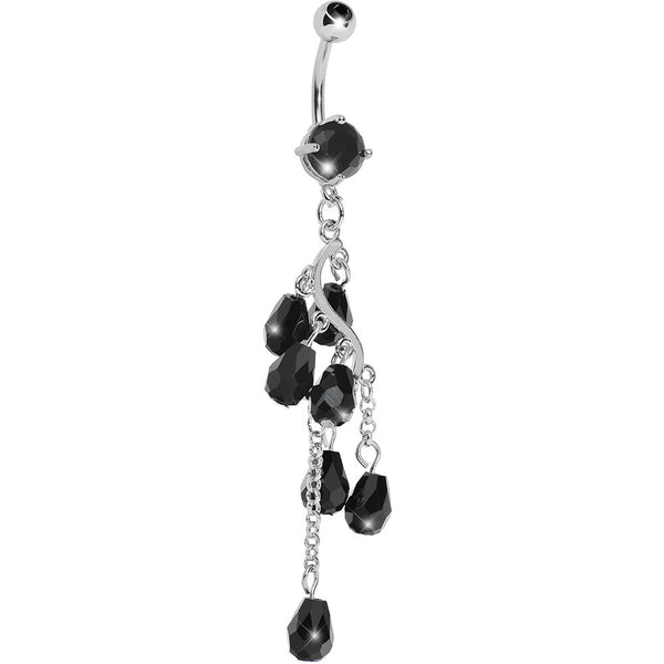 Black Gem Chain Cascade Belly Ring