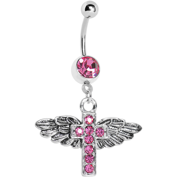Pink Gem Faith in Flight Winged Cross Belly Ring