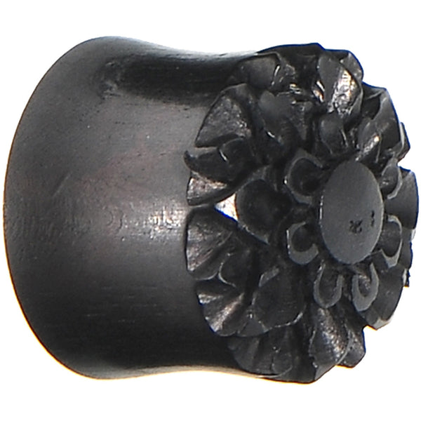 5/8 Organic Black Wood Hand Engraved Flower Plug