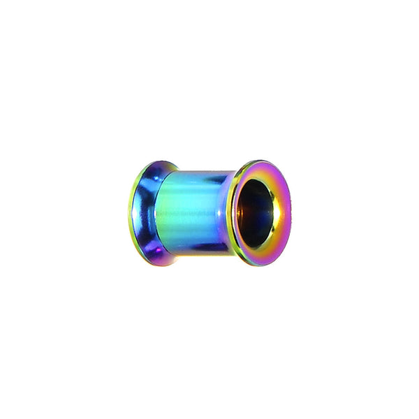 0 Gauge Rainbow Titanium Double Flare Internally Threaded Tunnel