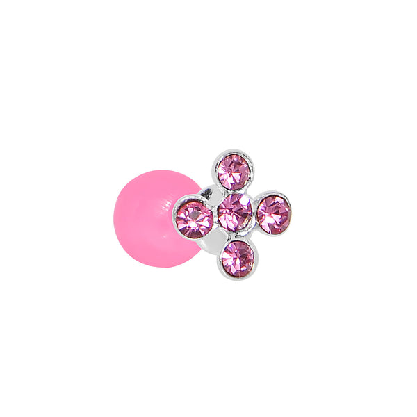 Pink Acrylic 925 Silver Pink Gem Flower Cartilage Earring