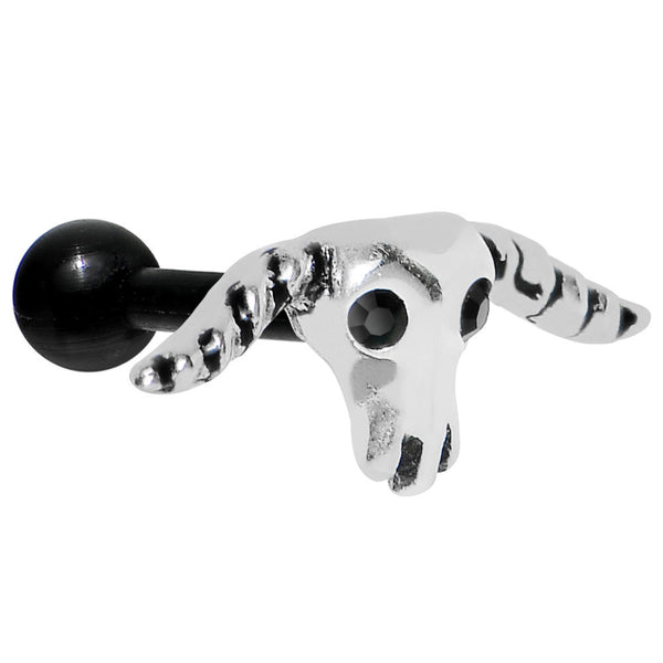 Black Acrylic 925 Silver Black Gem Bull Cartilage Earring