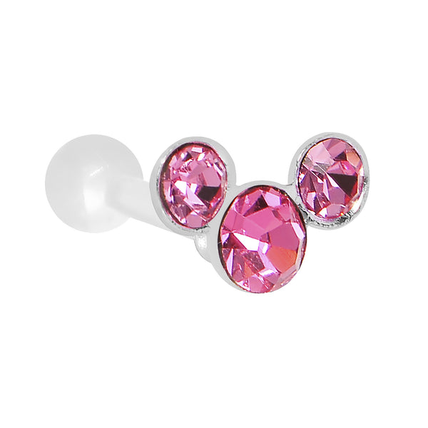White Acrylic 925 Silver Pink Gem Trio Cartilage Earring