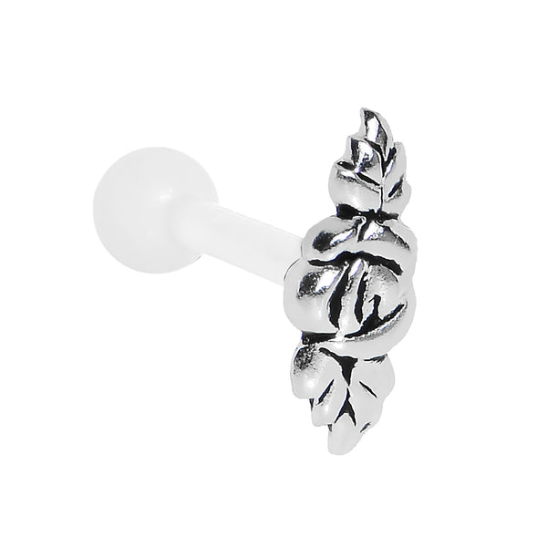 White Acrylic 925 Silver Floral Rose Flower Cartilage Earring