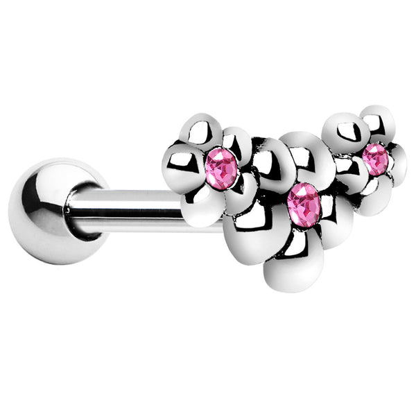 Silver 925 Pink CZ Florid Flower Cartilage Tragus Earring
