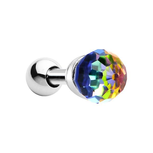 Silver 925 Aurora Vitrail Medium Crystal Ball Cartilage Tragus Earring