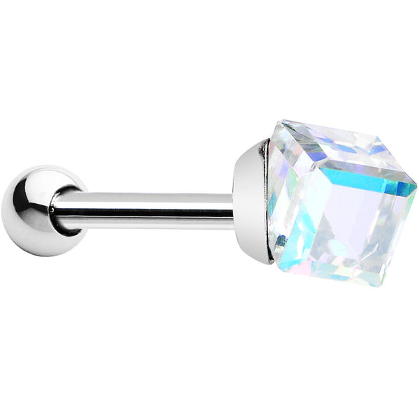 Silver 925 Aurora 4mm Crystal Cube Cartilage Tragus Earring