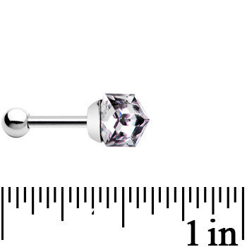 Silver 925 Heliotrope 4mm Crystal Cube Cartilage Tragus Earring