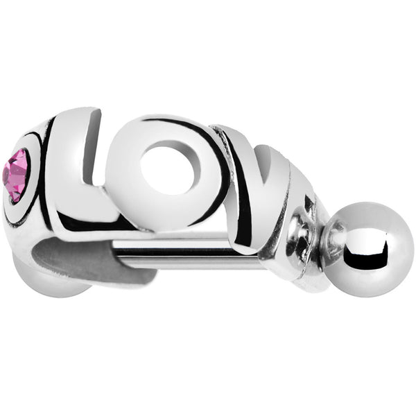 Silver 925 Pink Gem Love Right Mini Cartilage Shield Earring