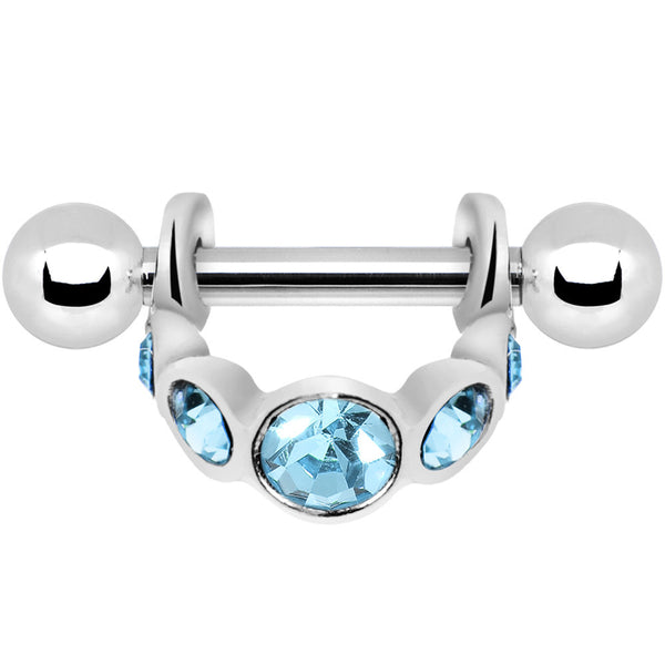 Silver 925 Aqua Gem Loop Mini Cartilage Shield Earring