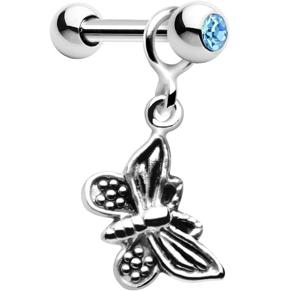 Silver 925 Aqua Gem Textured Butterfly Dangle Cartilage Earring