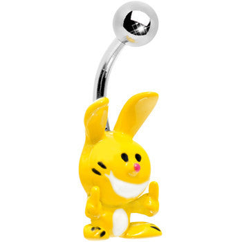 HAPPY BUNNY 3-D Hand Painted YELLOW Finger  Belly Ring