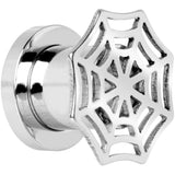 0 Gauge Stainless Steel Top Spider Web Tunnel Screw Fit Plug