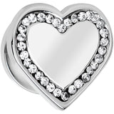 "1/2"" Clear CZ Gem Stainless Steel Heart Screw Fit Plug"