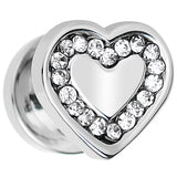 0 Gague Clear CZ Gem Stainless Steel Heart Screw Fit Plug