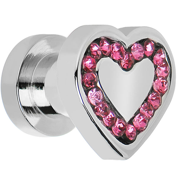 2 Gauge Surgical Steel Pink CZ Heart Screw Fit Plug