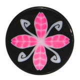 6 Gauge Black Floral Acrylic Double Flare Saddle Plug
