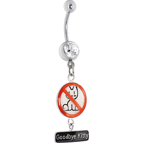 DAVID and GOLIATH Crystalline Gem Goodbye Kitty Cat Dangle Belly Ring