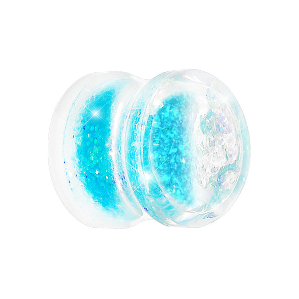 1/2 Clear Acrylic Blue Liquid Glitter Saddle Plug