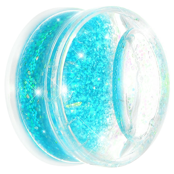 7/8 Clear Acrylic Blue Liquid Glitter Saddle Plug