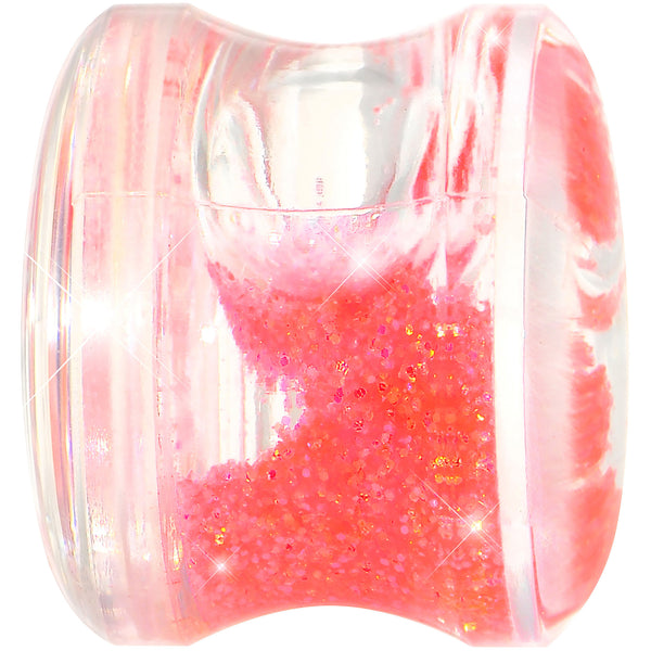 1/2 Clear Acrylic Pink Liquid Glitter Saddle Plug