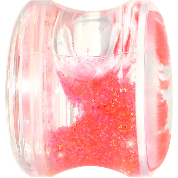 9/16 Clear Acrylic Pink Liquid Glitter Saddle Plug