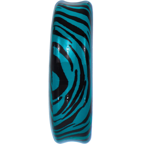 47mm Aqua Acrylic Animal Print Double Flare Saddle Plug