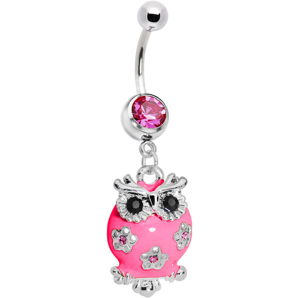 Perfect in Pink Cubic Zirconia Neon Flower Owl Belly Ring