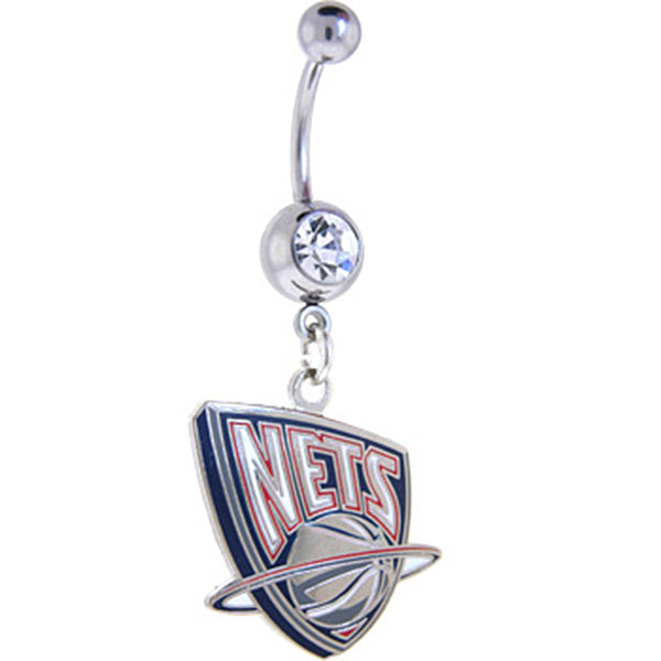 NBA New Jersey NETS Crystalline Gem Belly Ring