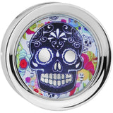 7/8' Steel Sugar Skull Floral Reversible Mirror Screw Fit Plug