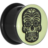 "5/8"" Acrylic Glow in the Dark Sugar Skull Plug"