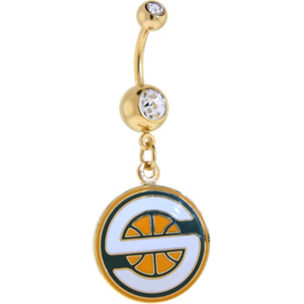 NBA Seattle SUPERSONICS Double Crystalline Gem Gold Belly Ring