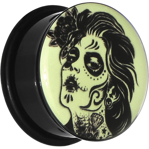 "7/8"" Acrylic Glow in the Dark Femme Fatale Zombie Plug"