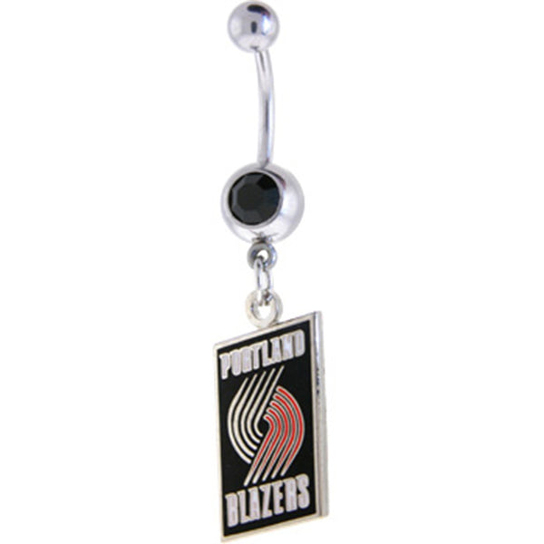 NBA Portland Trailblazers Midnight Black Gem Belly Ring