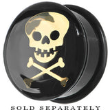 6 Gauge Black Acrylic Single Flare Skull Crossbones Plug