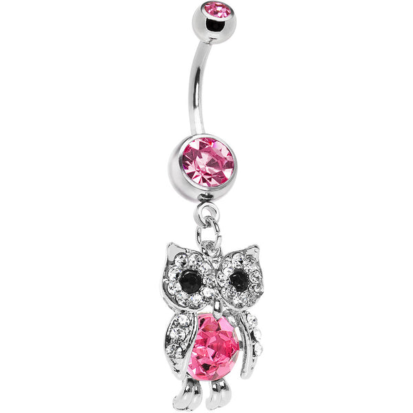 Dazzling Pink Gem Owl Belly Ring