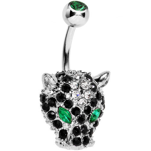 Green Black Gem Panther Head Belly Ring