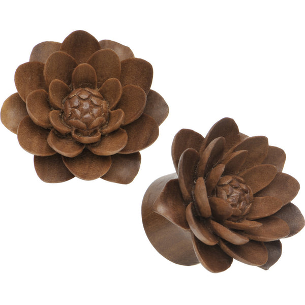 "3/4"" Organic Sabo Wood Lily Hand Carved Plug Set"