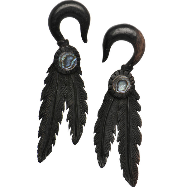 0 Gauge Organic Areng Wood Spirit Feathers Hanger Plug Set