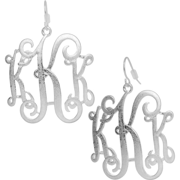 Silver Tone Matte Finish Triple Letter K Initial Dangle Earrings
