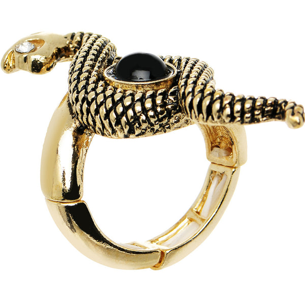 Black Clear Gem Gold Tone Coiling Snake Stretch Ring