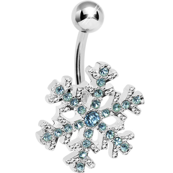 Aqua Gem Icy Cold Winter Snowflake Belly Ring