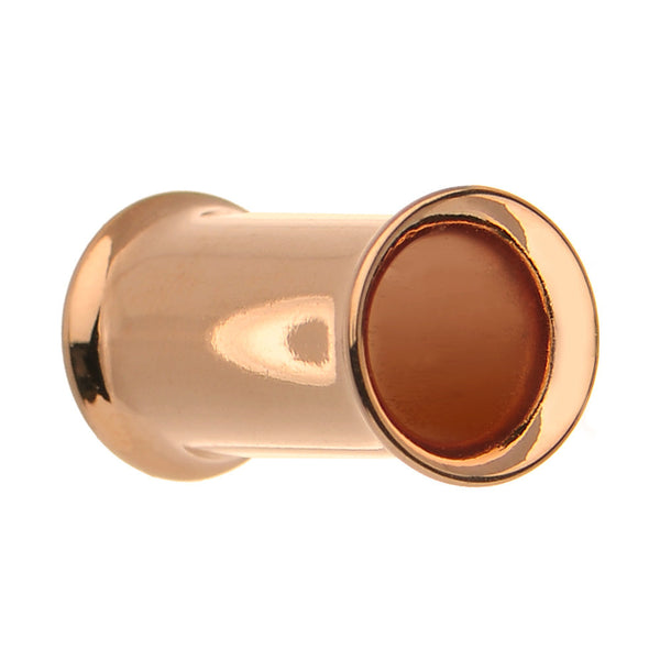 6 Gauge Double Flare Rose Gold Plated Hollow Tunnel Plug
