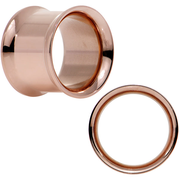 "1/2"" Rose Gold Plated Stainless Steel Tunnel Plug Set"