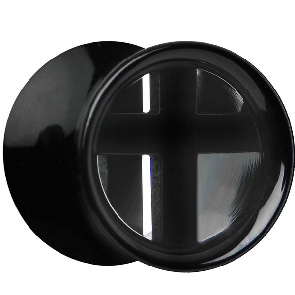 "1/2"" Double Flare Black Titanium Hollow Divine Cross Tunnel Plug"
