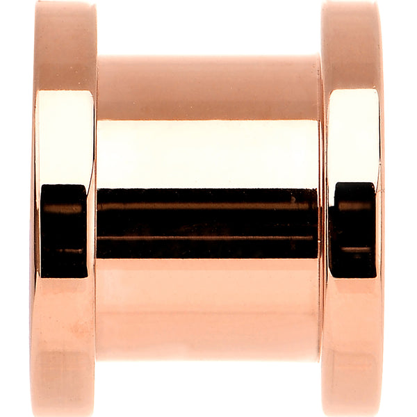 00 Gauge Rose Gold Plated Brilliant Screw Fit Tunnel Plug